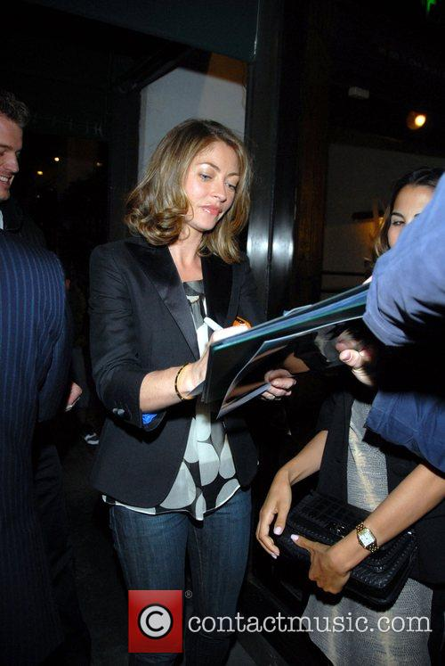 Rebecca Gayheart  signs autographs outside Madeos Restaurant....