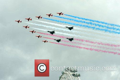 The Red Arrows make a fly-past over the...