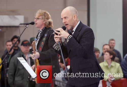 Mike Mills and Michael Stipe R.E.M performs live...