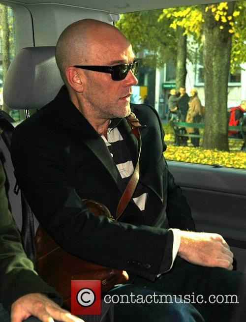 R.E.M. singer Michael Stipe leaving the Bayerischer Hof...
