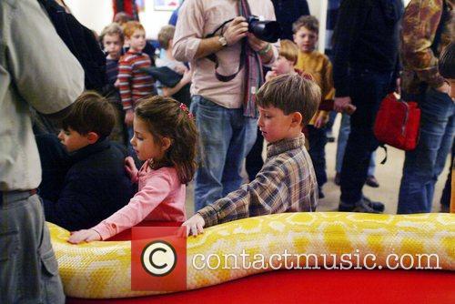 Michael Shwedick allows children stroke an Albino Anaconda...