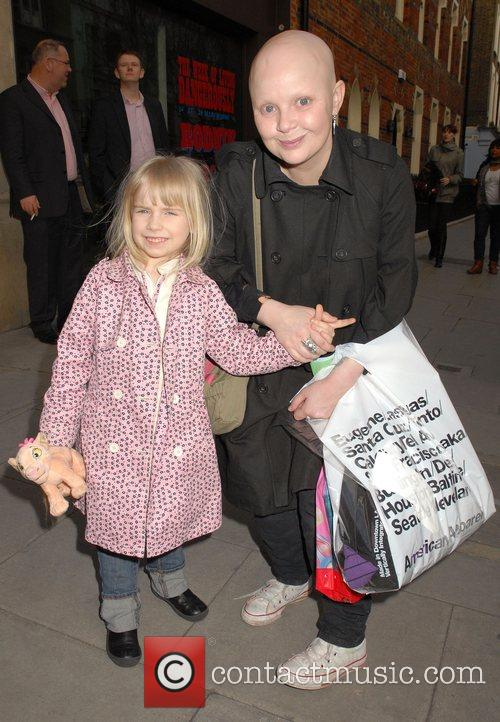 Gail Porter and daughter leaving the launch party...