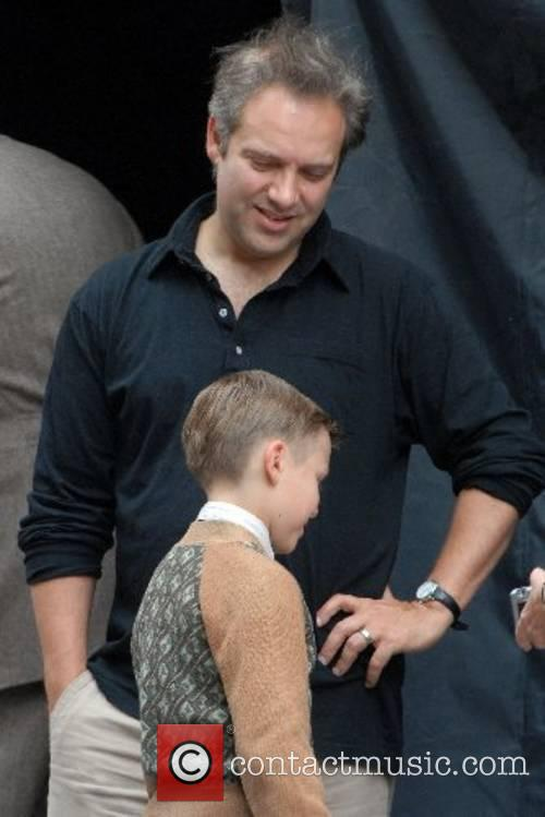 Sam Mendes, Ty Simpkins on the set of...