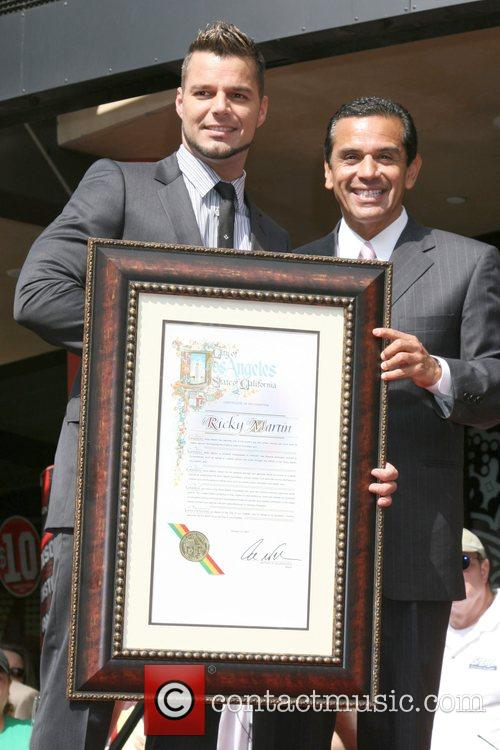 Ricky Martin and LA Mayor Antonio Villaraigosa...