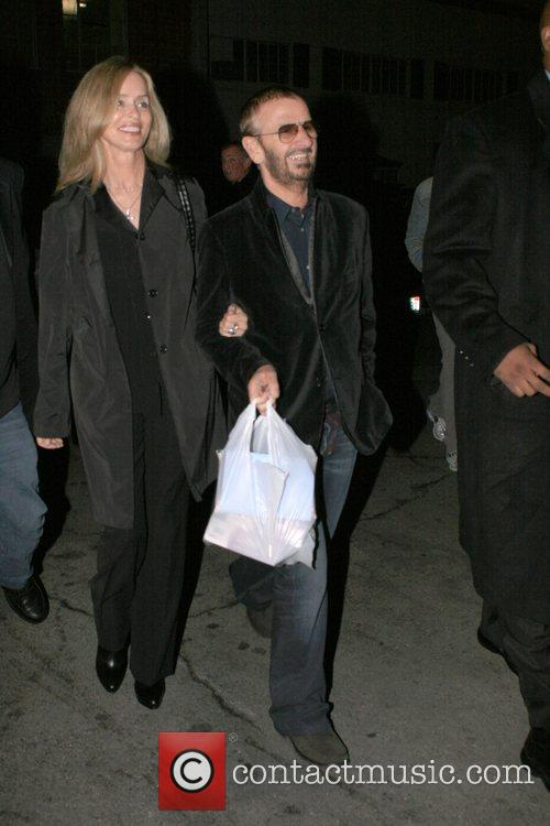 Ringo Starr and Barbara Bach arriving for dinner...