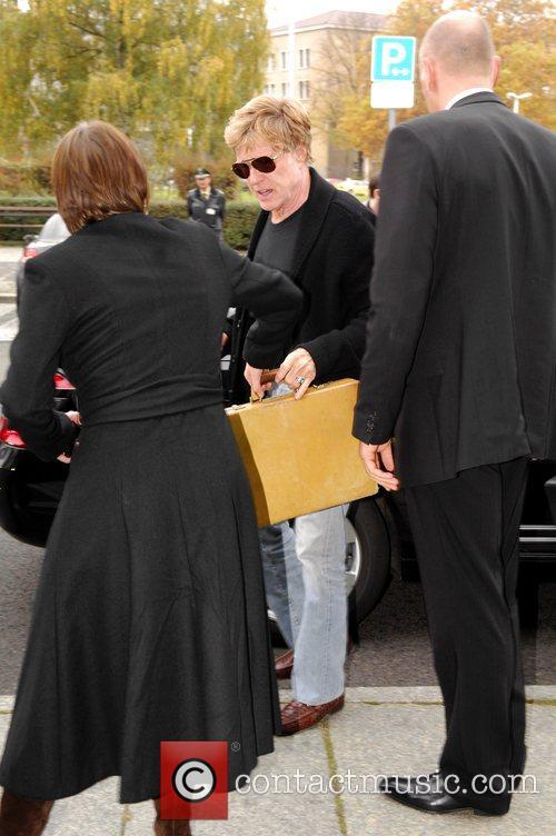 Robert Redford arriving at Tempelhof airport to board...