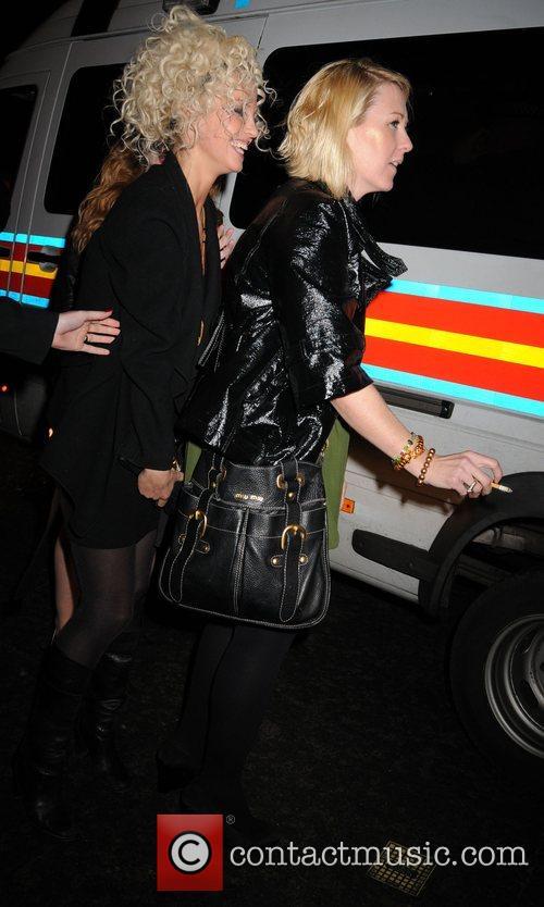 Sarah Harding and Nicola Roberts laughing together as...