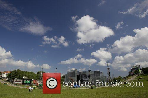 World Stage under construction inside Rock in Rio...