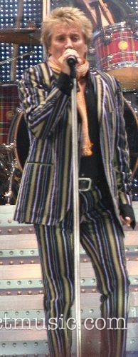 Rod Stewart performing at the Manchester City Stadium
