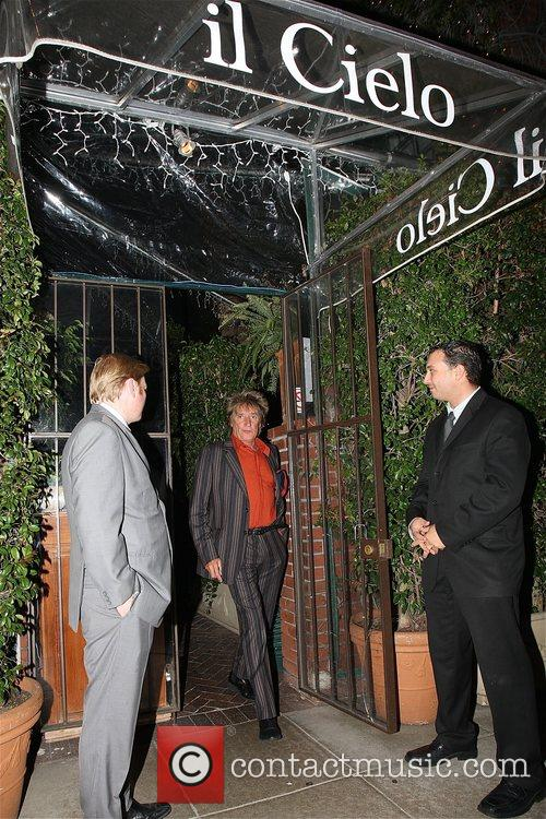 Rod Stewart Leaving the il Cielo restaurant after...