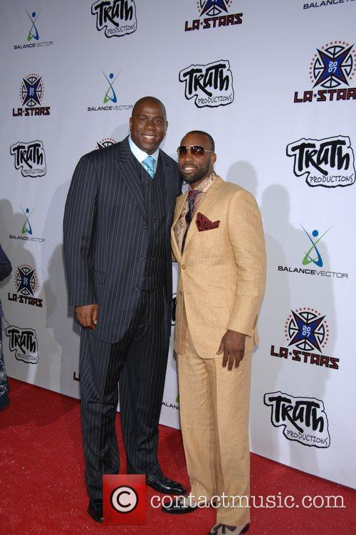 Magic Johnson and Nba Player Baron Davis 1