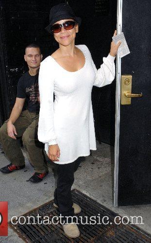 Rosie Perez outside Studio 54 where she stars...