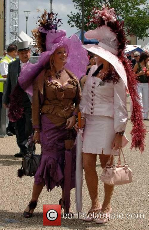 Racegoers wear matching horse themed hats for Ladies...