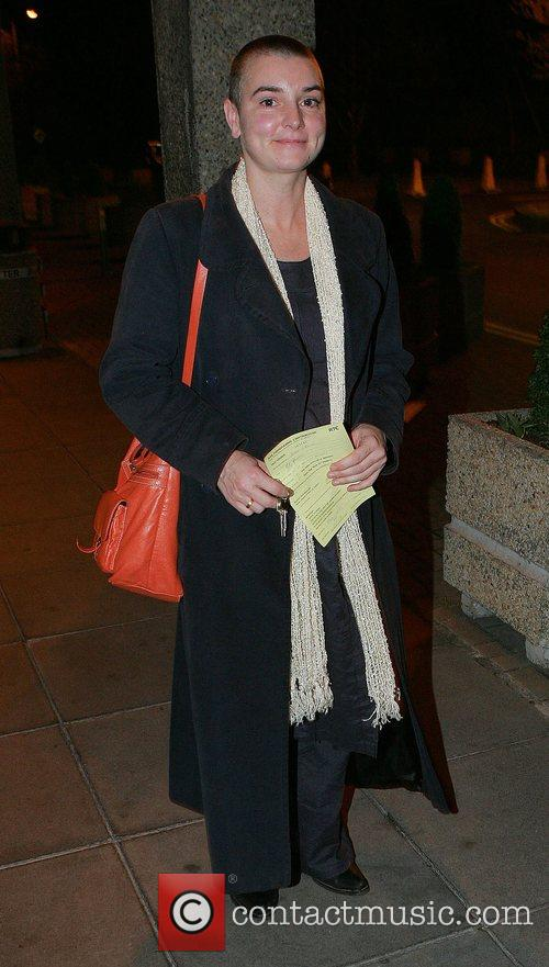 Sinead O'Connor leaving RTE Studios after appearing on...