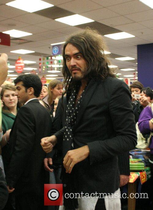 Russell Brand arrives at WH Smith store in...