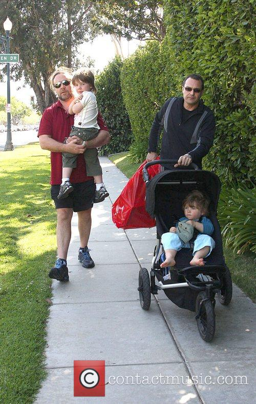 Russell Crowe  Walks with his sons to...