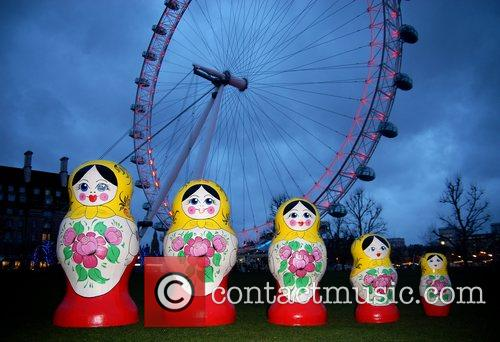 Life-size Russian dolls on display outside the London...