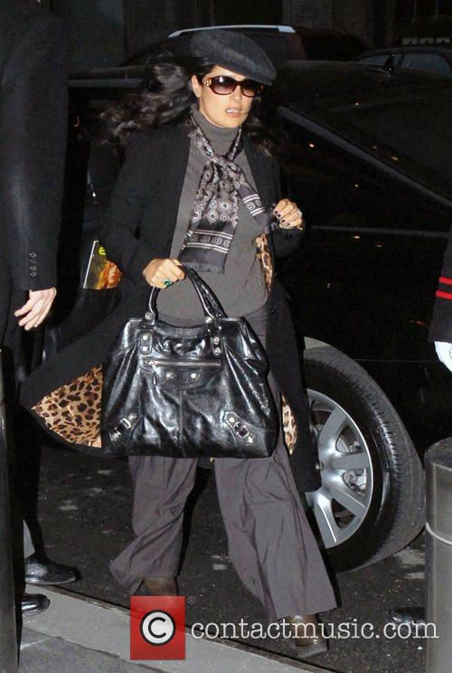 Salma Hayek  returning to her hotel in...