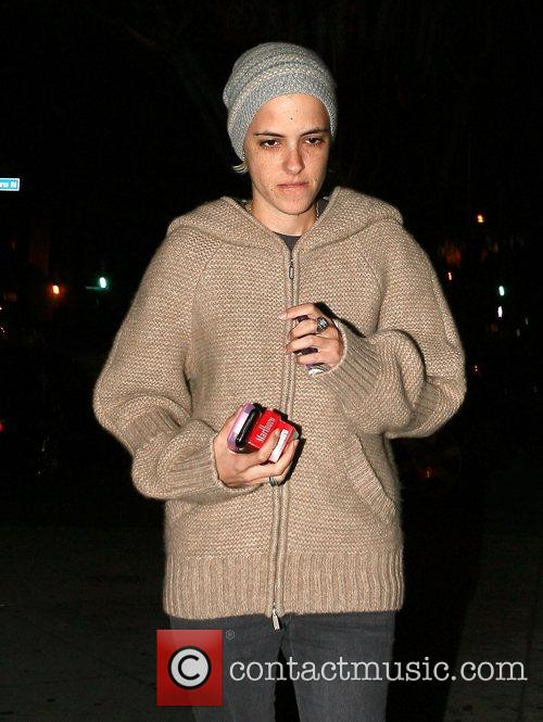 Samantha Ronson going into Dominick's Restaurant for dinner...