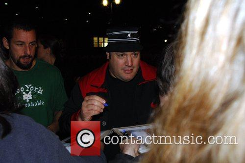 Adam Sandler and Kevin James signing autographs at...