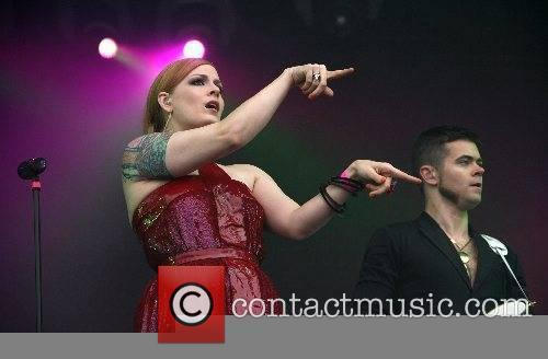Ana Matronic and Del Marquis Scissor Sisters performing...