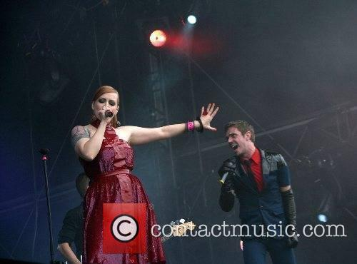 Ana Matronic and Jake Shears Scissor Sisters performing...