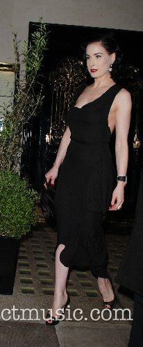 Dita Von Teese leaving Scott's restaurant in Mayfair.