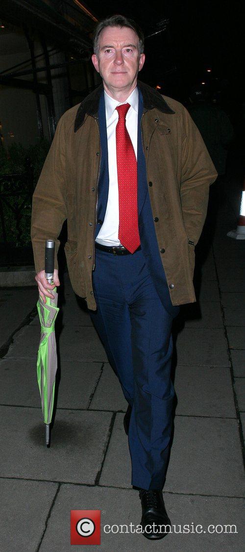Peter Mandelson leaving Scott's restaurant