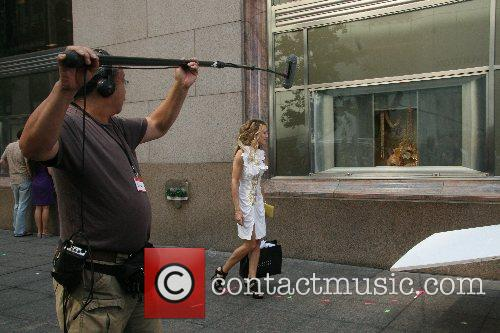 On the film set of 'Sex and the...
