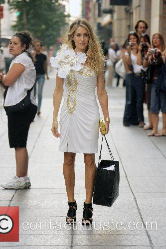 Sarah Jessica Parker in character as Carrie Bradshaw...