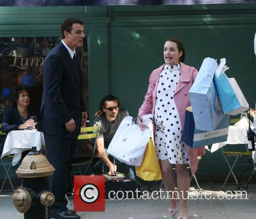 Chris Noth and Kristin Davis Filming on location...