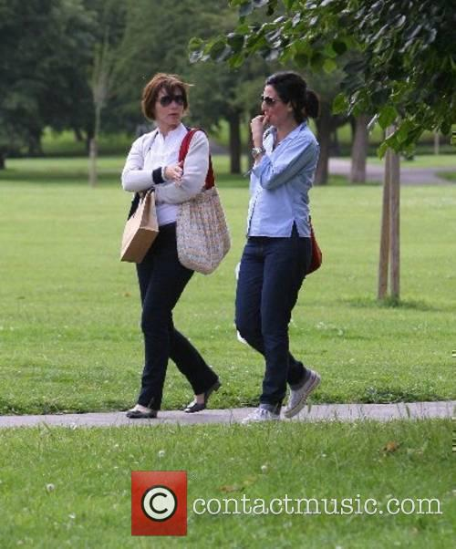 Sharleen Spiteri and a friend strolling through Primrose...