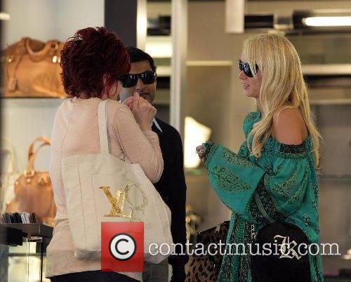 Sharon Osbourne shopping in the Yves Saint-Laurent store...