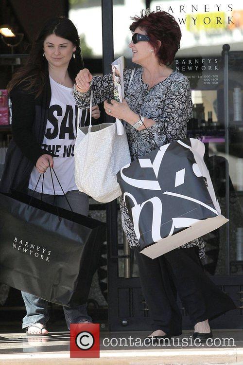 Sharon Osbourne and eldest daughter Aimee Osbourne leaving...