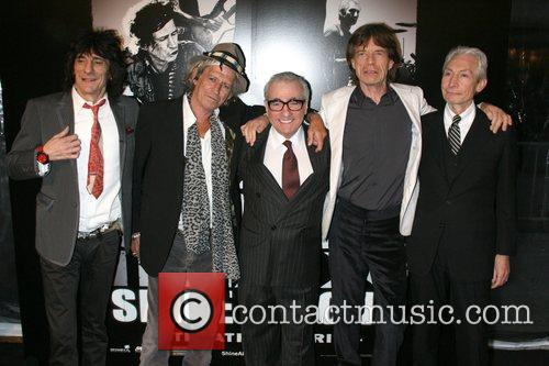 Ronnie Wood, Charlie Watts, Keith Richards, Martin Scorsese and Mick Jagger 2