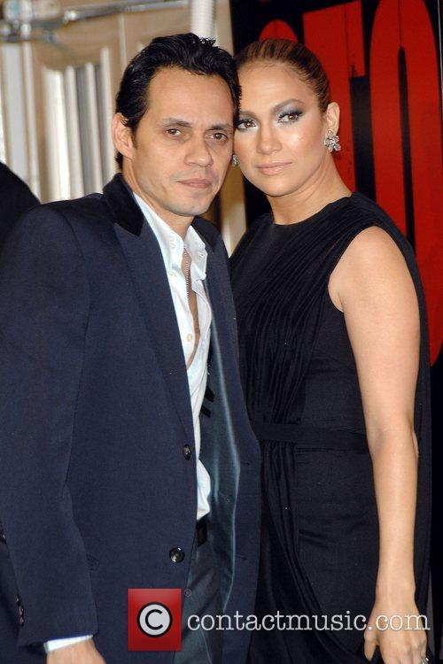 Marc Anthony and Jennifer Lopez at the New...