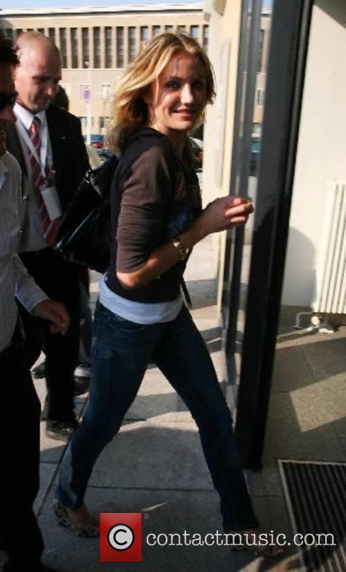 Cameron Diaz at Tempelhof airport leaving Berlin while...