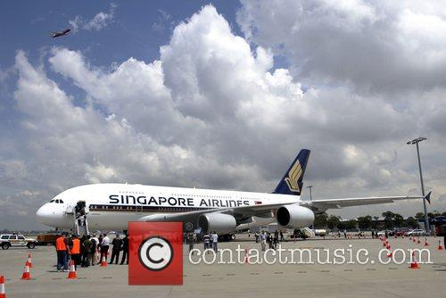 Singapore Airlines  A380 aircraft being shown at...