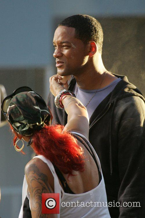 Will Smith on location on Hollywood Boulevard filming...