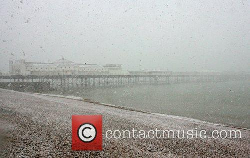 A snowy Brighton beach Brighton, England