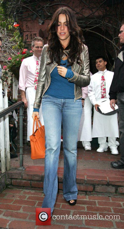 Sophia Vergara seen leaving the Ivy restaurant holding...