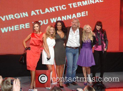 Victoria Beckham, Emma Bunton, Geri Halliwell, Richard Branson and Virgin 10