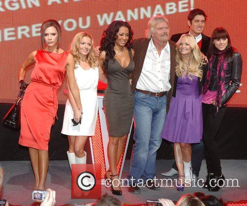Victoria Beckham, Emma Bunton, Geri Halliwell, Richard Branson and Virgin 3