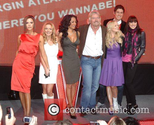 Victoria Beckham, Emma Bunton, Geri Halliwell, Richard Branson and Virgin 2
