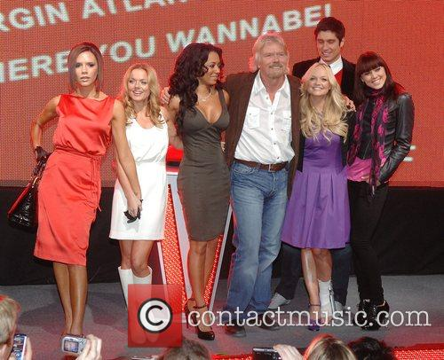 Victoria Beckham, Emma Bunton, Geri Halliwell, Richard Branson and Virgin 1