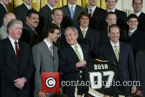 The President George W. Bush welcomed the NHL...