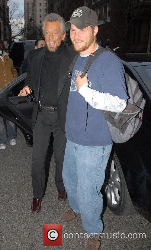 Stephen J. Cannell with his son Cody arriving...