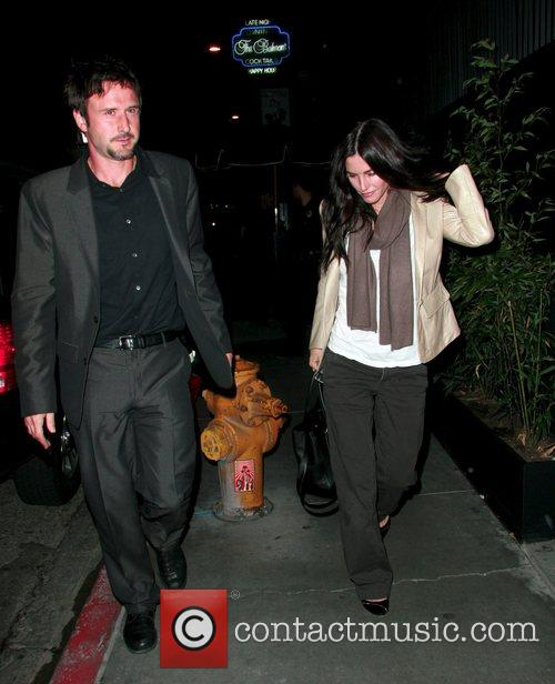 David Arquette and Courteney Cox arriving at STK...