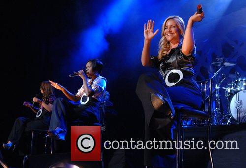 Sugababes performing live in concert for the launch...