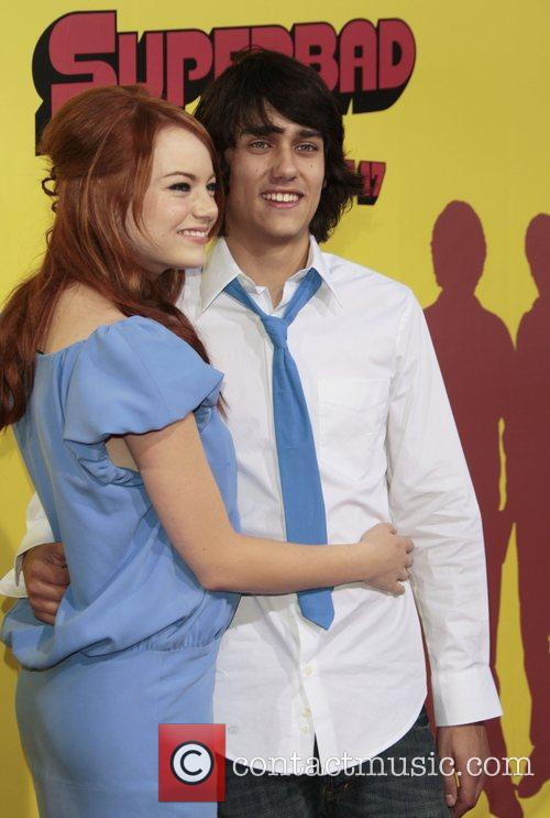 Emma Stone and Teddy Geiger Premiere of 'superbad',...